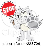 Gray Bulldog Mascot Holding A Stop Sign