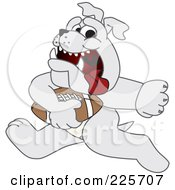 Gray Bulldog Mascot Running With A Football