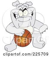 Gray Bulldog Mascot Dribbling A Basketball