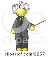 Yellow Man Depicted As Albert Einstein Holding A Pointer Stick by Leo Blanchette