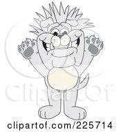 Gray Bulldog Mascot With Spiked Hair