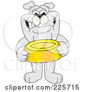 Gray Bulldog Mascot Standing And Holding A Dish