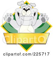 Royalty Free RF Clipart Illustration Of A Gray Bulldog Mascot Over A Green Diamond Above A Blank Gold Banner
