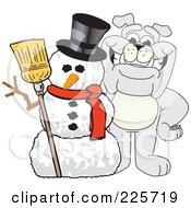 Gray Bulldog Mascot With A Christmas Snowman