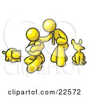 Clipart Illustration Of A Yellow Family Father Mother And Newborn Baby With Their Dog And Cat by Leo Blanchette