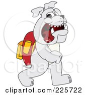 Royalty Free RF Clipart Illustration Of A Gray Bulldog Mascot Walking To School