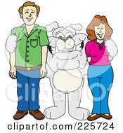 Gray Bulldog Mascot Standing With Adults