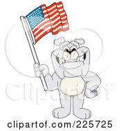 Gray Bulldog Mascot Waving An American Flag