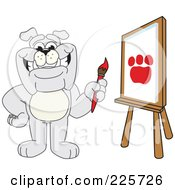 Royalty Free RF Clipart Illustration Of A Gray Bulldog Mascot Painting A Paw Print In Art Class