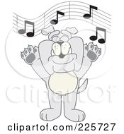 Royalty Free RF Clipart Illustration Of A Gray Bulldog Mascot Singing In Music Class by Toons4Biz