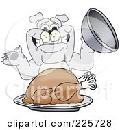 Royalty Free RF Clipart Illustration Of A Gray Bulldog Mascot Serving A Thanksgiving Turkey by Toons4Biz