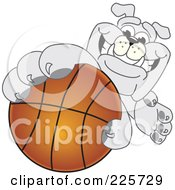 Royalty Free RF Clipart Illustration Of A Gray Bulldog Mascot Reaching Up And Grabbing A Basketball by Toons4Biz