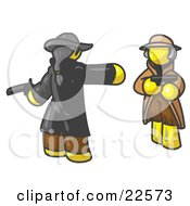 Clipart Illustration Of A Yellow Man Challenging Another Yellow Man To A Duel With Pistils