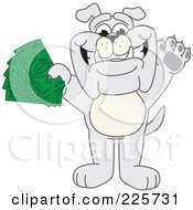Royalty Free RF Clipart Illustration Of A Gray Bulldog Mascot Standing And Holding Cash by Toons4Biz