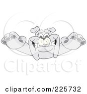 Royalty Free RF Clipart Illustration Of A Gray Bulldog Mascot Leaping Forward by Toons4Biz