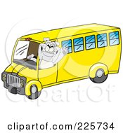 Gray Bulldog Mascot Waving And Driving A School Bus
