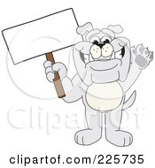 Royalty Free RF Clipart Illustration Of A Gray Bulldog Mascot Waving And Holding A Sign by Toons4Biz