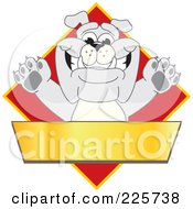 Royalty Free RF Clipart Illustration Of A Gray Bulldog Mascot Over A Red Diamond Above A Blank Gold Banner by Toons4Biz