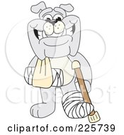Gray Bulldog Mascot With A Crutch Sling And Cast