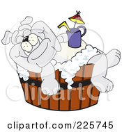 Royalty Free RF Clipart Illustration Of A Gray Bulldog Mascot Bathing With A Drink In A Wooden Tub by Toons4Biz
