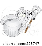 Royalty Free RF Clipart Illustration Of A Gray Bulldog Mascot Grabbing A Lacrosse Ball by Toons4Biz