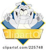 Gray Bulldog Mascot Over A Blue Diamond Above A Blank Gold Banner
