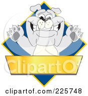 Royalty Free RF Clipart Illustration Of A Gray Bulldog Mascot Over A Blue Diamond Above A Blank Gold Banner by Toons4Biz