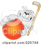 Royalty Free RF Clipart Illustration Of A Gray Bulldog Mascot Reaching Up And Grabbing A Field Hockey Ball by Toons4Biz