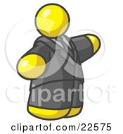 Clipart Illustration Of A Big Yellow Business Man In A Suit And Tie by Leo Blanchette