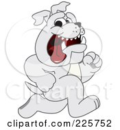 Royalty Free RF Clipart Illustration Of A Gray Bulldog Mascot Running