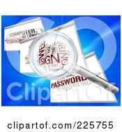 Royalty Free RF Clipart Illustration Of A 3d Magnifying Glass Zooming In On A Web Design Word Collage In A Web Browser by MacX