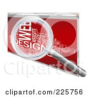 Royalty Free RF Clipart Illustration Of A 3d Magnifying Glass Zooming In On A Word Collage In A Red Web Browser by MacX