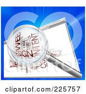 Royalty Free RF Clipart Illustration Of A 3d Magnifying Glass Over A Web Design Word Collage In A Web Browser by MacX