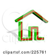 3d Green And Red House Logo With A Shadow