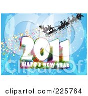 Royalty Free RF Clipart Illustration Of A Santa Sleigh Silhouette Over Blue With Sparkles Above 2011 Happy New Year Text by MacX