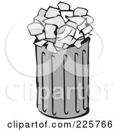 Royalty Free RF Clipart Illustration Of A Grayscale Trash Can With Papers