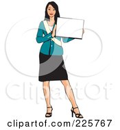 Royalty Free RF Clipart Illustration Of A Professional Woman Presenting A Blank Sign 5 by David Rey