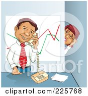Royalty Free RF Clipart Illustration Of A Businesswoman Spying On Her Boss While He Talks On The Phone by David Rey