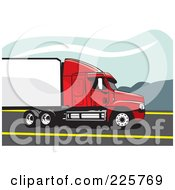 Royalty Free RF Clipart Illustration Of A Red And White Big Rig Truck by David Rey