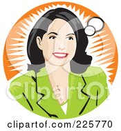 Royalty Free RF Clipart Illustration Of A Businesswoman In Thought Over An Orange Burst by David Rey