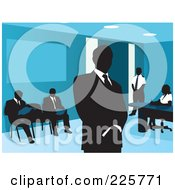 Royalty Free RF Clipart Illustration Of Businessmen Waiting In An Office by David Rey