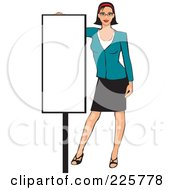 Royalty Free RF Clipart Illustration Of A Professional Woman Presenting A Blank Sign 7 by David Rey