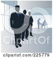 Royalty Free RF Clipart Illustration Of A Row Of Three Security Men by David Rey