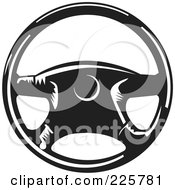 Royalty Free RF Clipart Illustration Of A Black And White Steering Wheel