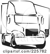 Royalty Free RF Clipart Illustration Of A Black And White Big Rig Truck by David Rey
