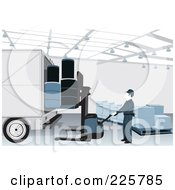 Royalty Free RF Clipart Illustration Of A Warehouse Worker Loading A Truck