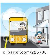 Royalty Free RF Clipart Illustration Of A Bus Driver Picking Up A Boy At A Stop