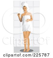 Royalty Free RF Clipart Illustration Of A Woman Wearing A Towel Around Her Body And On Her Head by David Rey