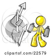 Clipart Illustration Of A Yellow Business Man Spray Painting A Graffiti Dollar Sign On A Wall