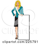 Royalty Free RF Clipart Illustration Of A Professional Woman Presenting A Blank Sign 6 by David Rey